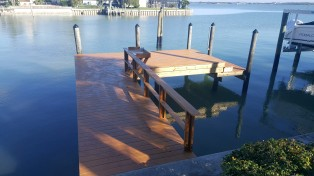New Wear Deck Dock with rail, fish table, and lower dock.