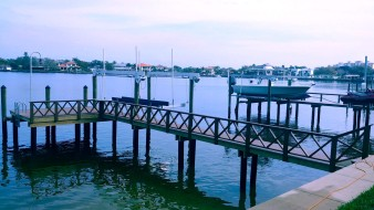 New Wear Deck dock with custom double X rail, ladder, lower dock and 16,000LB Deco Boat Lift in St. Petersburg, FL