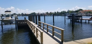 Wear Deck dock with rail, bench 10,000 Deco Lift and 60' wetslip